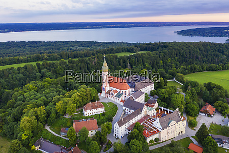 aerial view of andechs monastery at