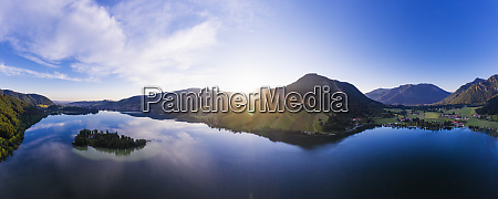 panoramic shot of lake schliersee with