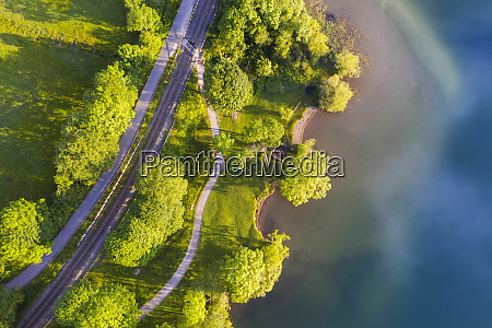 aerial view of railroad tracks by