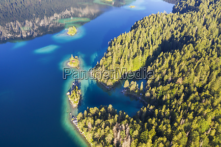 aerial view of eibsee lake with