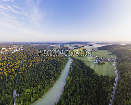 aerial view of geretsried and isar
