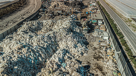 above view of mountains of plastic