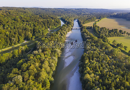 germany bavaria schftlarn aerial view ofisarriver