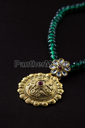 indian traditional jewellery close up of