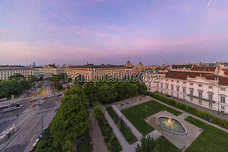 historic center of vienna during sunset