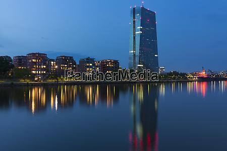 frankfurt skyline at night with illuminated