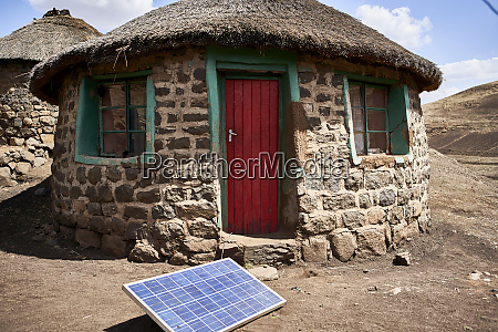 typical house with solar panel lesotho