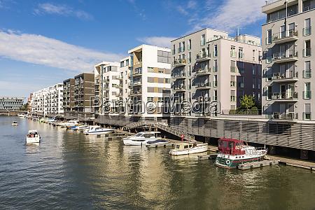 residential buildings by river main frankfurt