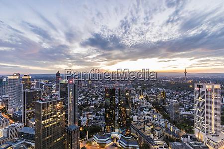 illuminated cityscape against cloudy sky frankfurt