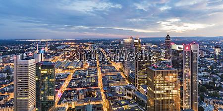 illuminated city against cloudy sky frankfurt