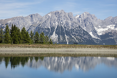 hartkaiser lake against kaiser mountains tyrol