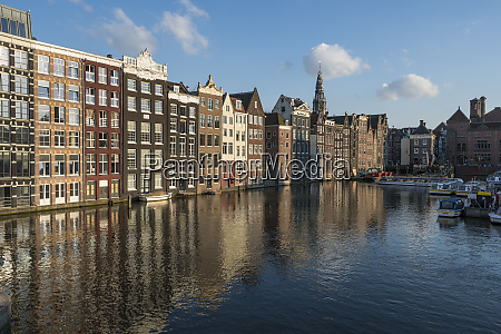 netherlands amsterdam row of waterfront houses