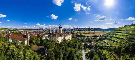 germany baden wuerttemberg odenwald gundelsheim aerial