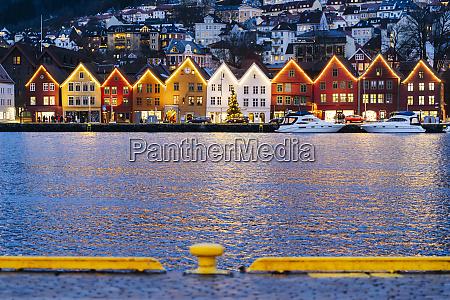 harbor in bergen in the evening