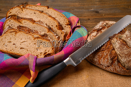 freshly sliced bread with a bread