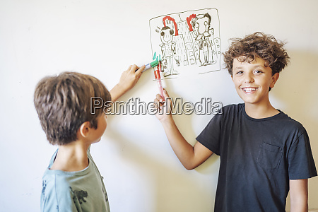 two boys in front of drawing