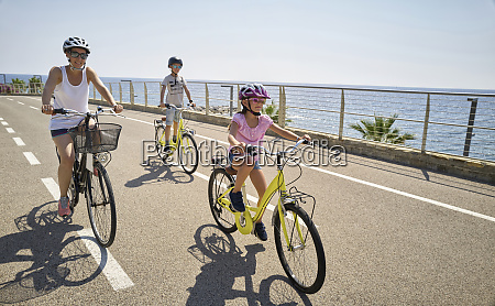 mother with children during bicycle tour