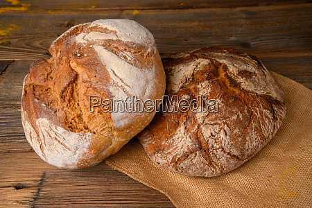 two fresh whole grain breads from