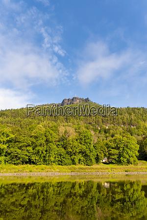 germany saxony konigstein green forestedliliensteinmountain