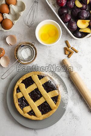 homemade pie with plum jam