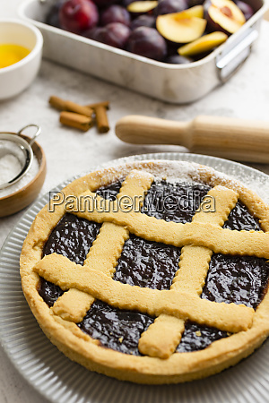 homemade pie with plum jam