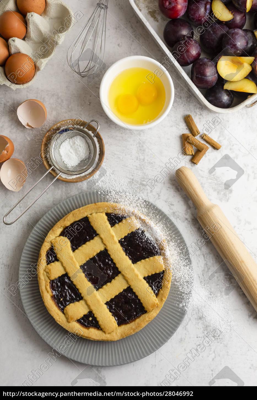 homemade, pie, with, plum, jam - 28046992