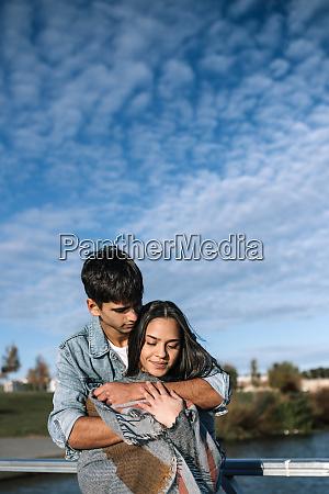 portrait of happy teenage couple