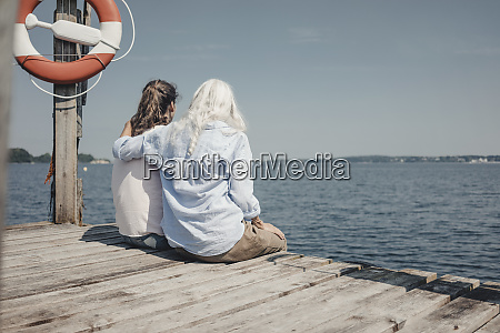 mother and daughter looking at the
