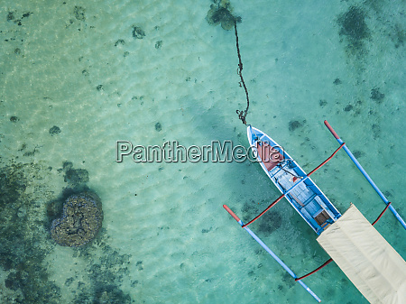 indonesia subawa aerial view of outrigger