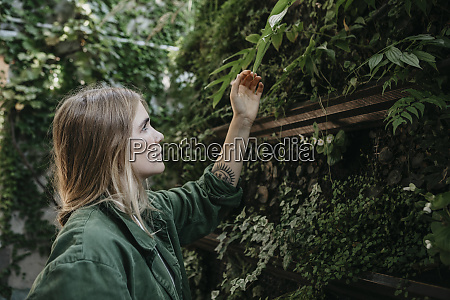 young woman touching plants