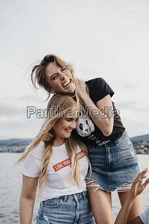 happy, female, friends, having, fun, on - 28050836