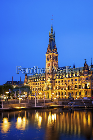 germany hamburg illuminated hamburg city hall