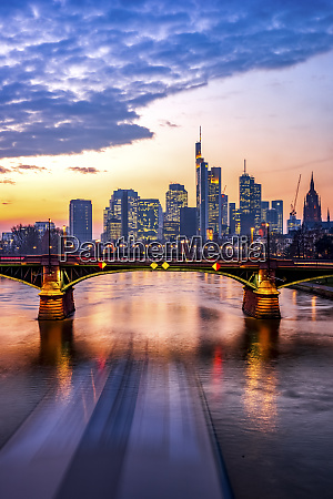 germany hesse frankfurt city skyline across