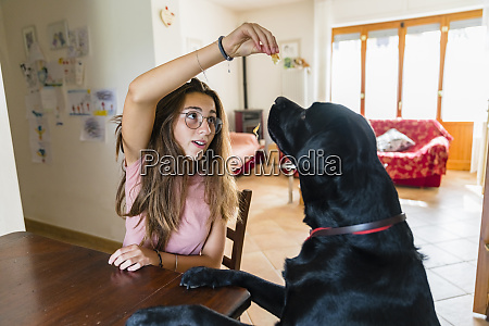girl playing with dog at table