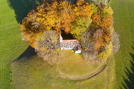 germany bavaria weipertshausen aerial view ofkapelle