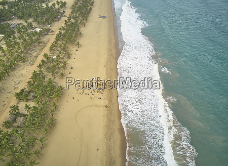 benin aerial view of waves brushing