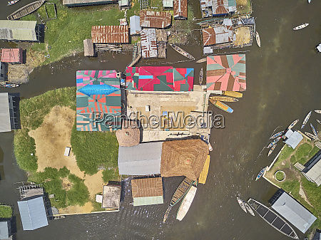 benin ganvie aerial view of fishing