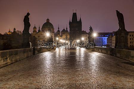 czech republic prague illuminated charles bridge