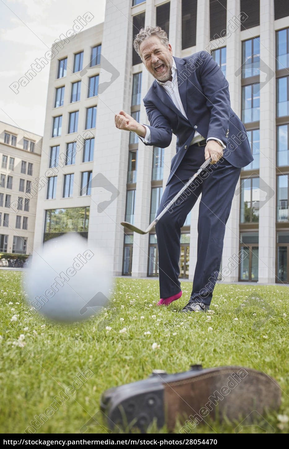 happy, mature, businessman, playing, golf, on - 28054470