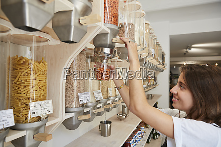 young woman shopping in packaging free