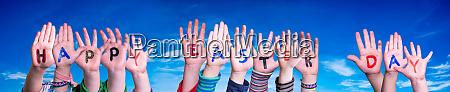 children hands building word happy easter