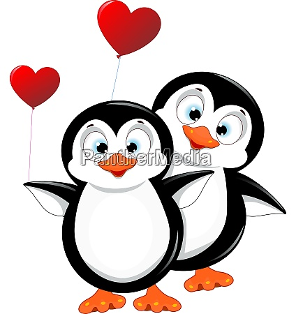 penguins with heart balloons