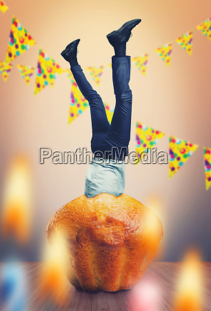 businessman in cake
