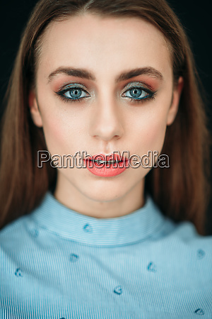 glamour woman face with professional makeup