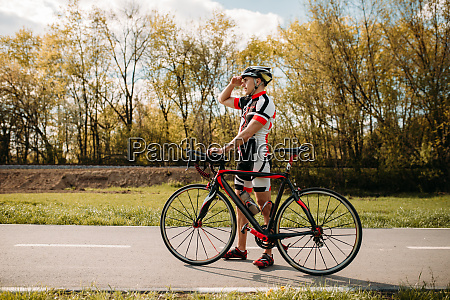 cyclist cyclocross training on bike path