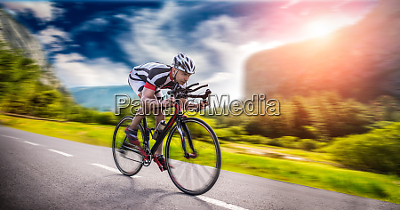 cyclist rides on bicycle speed effect