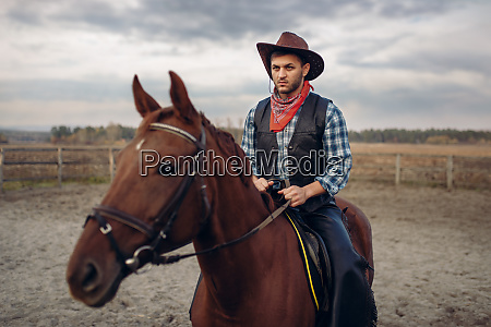 cowboy in leather clothes riding a