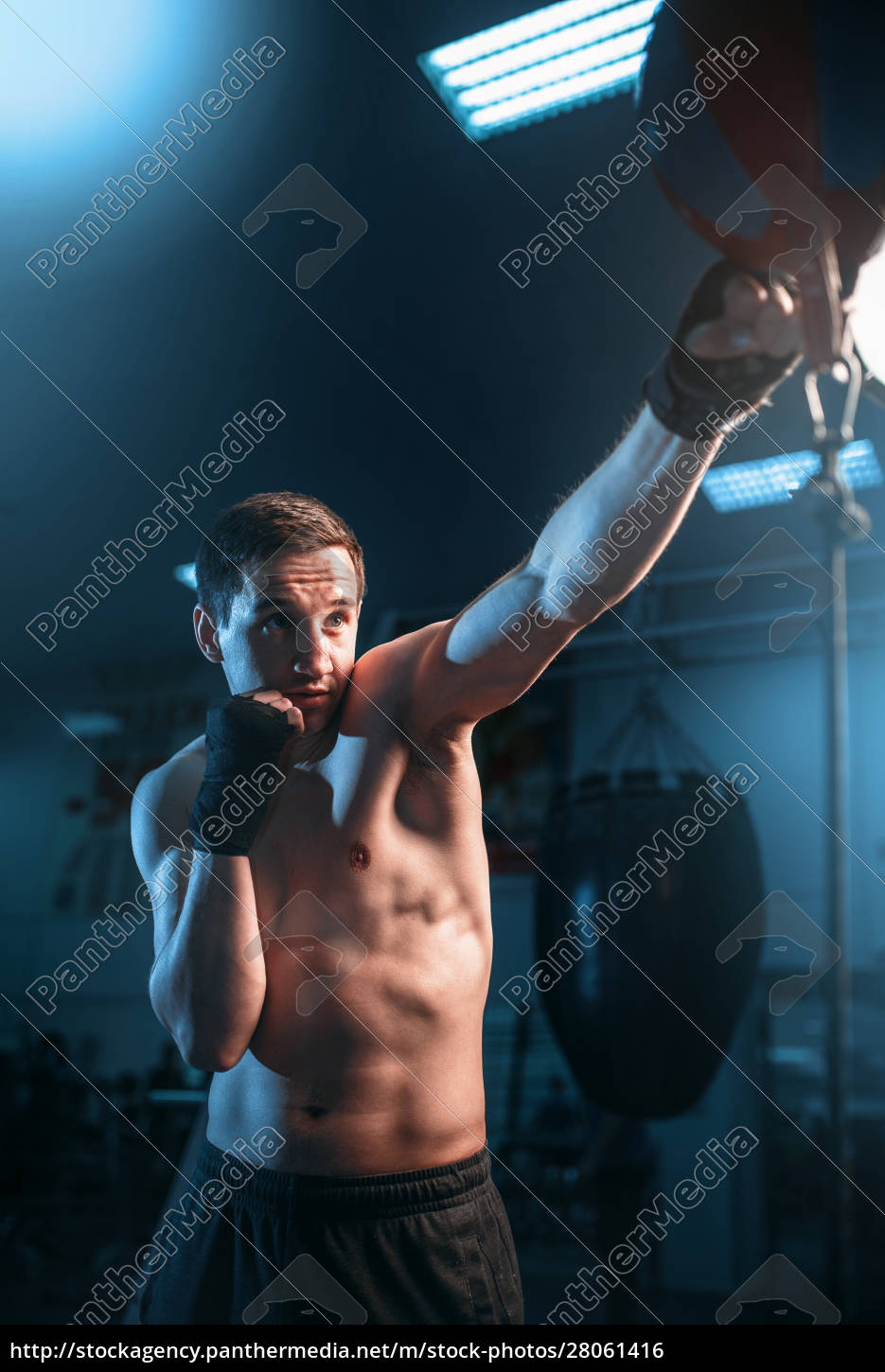 boxer, in, bandages, training, with, bag - 28061416