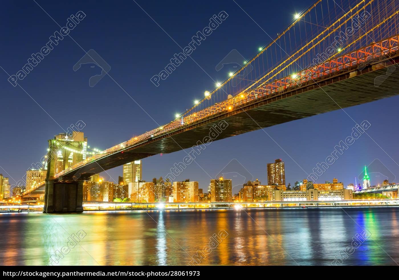 brooklyn, bridge, , manhattan, night, view, from - 28061973
