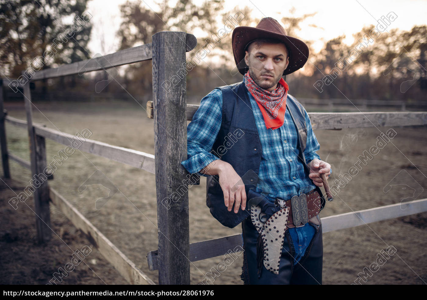 brutal, cowboy, poses, in, the, horse - 28061976